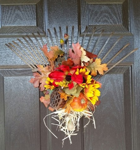 fall decor, repurposed rake